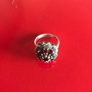 Vintage Sterling Silver Garnet Floral Ring